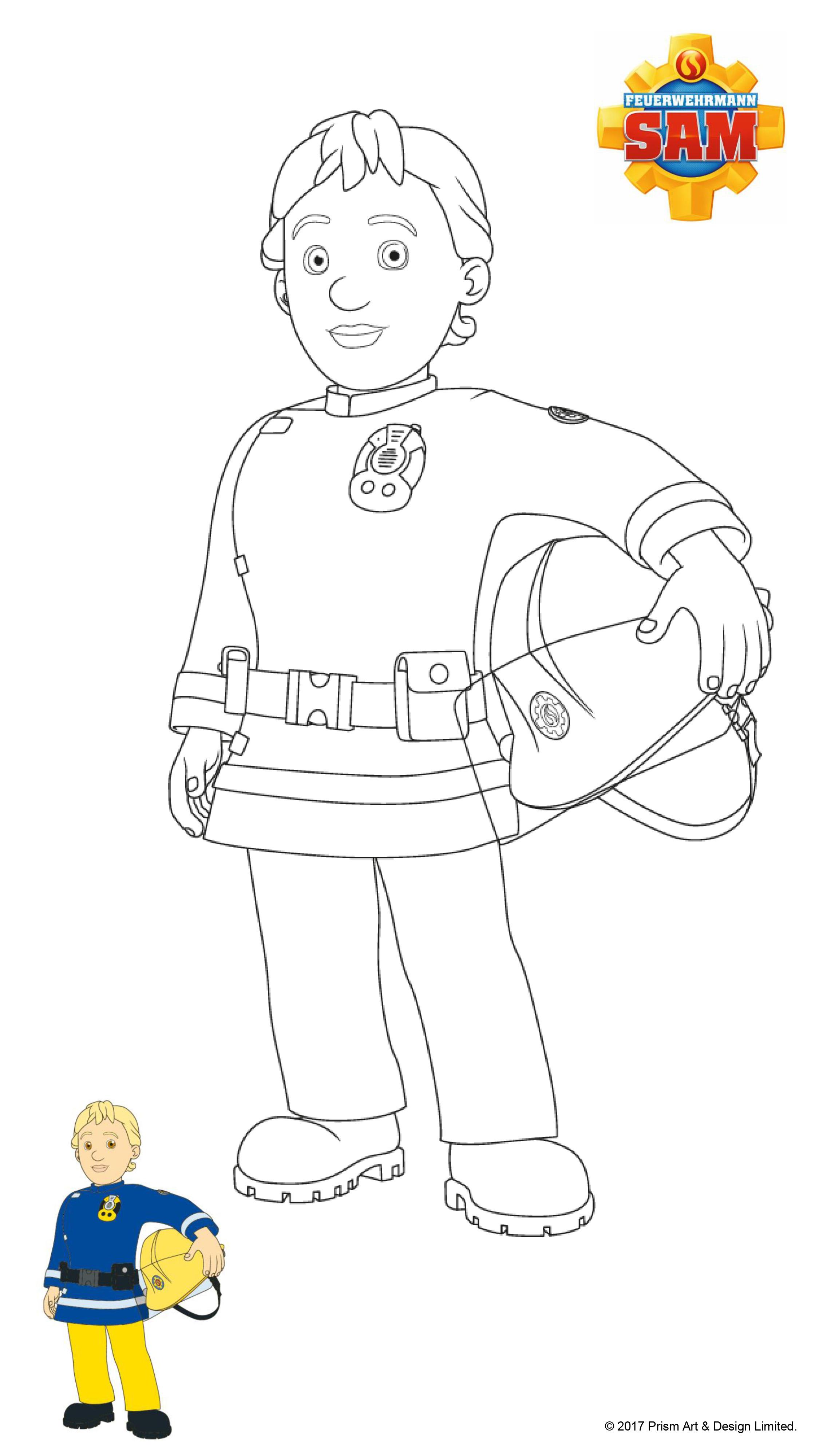 Feuerwehrmann Sam Ausmalbilder - Sam mit Helm