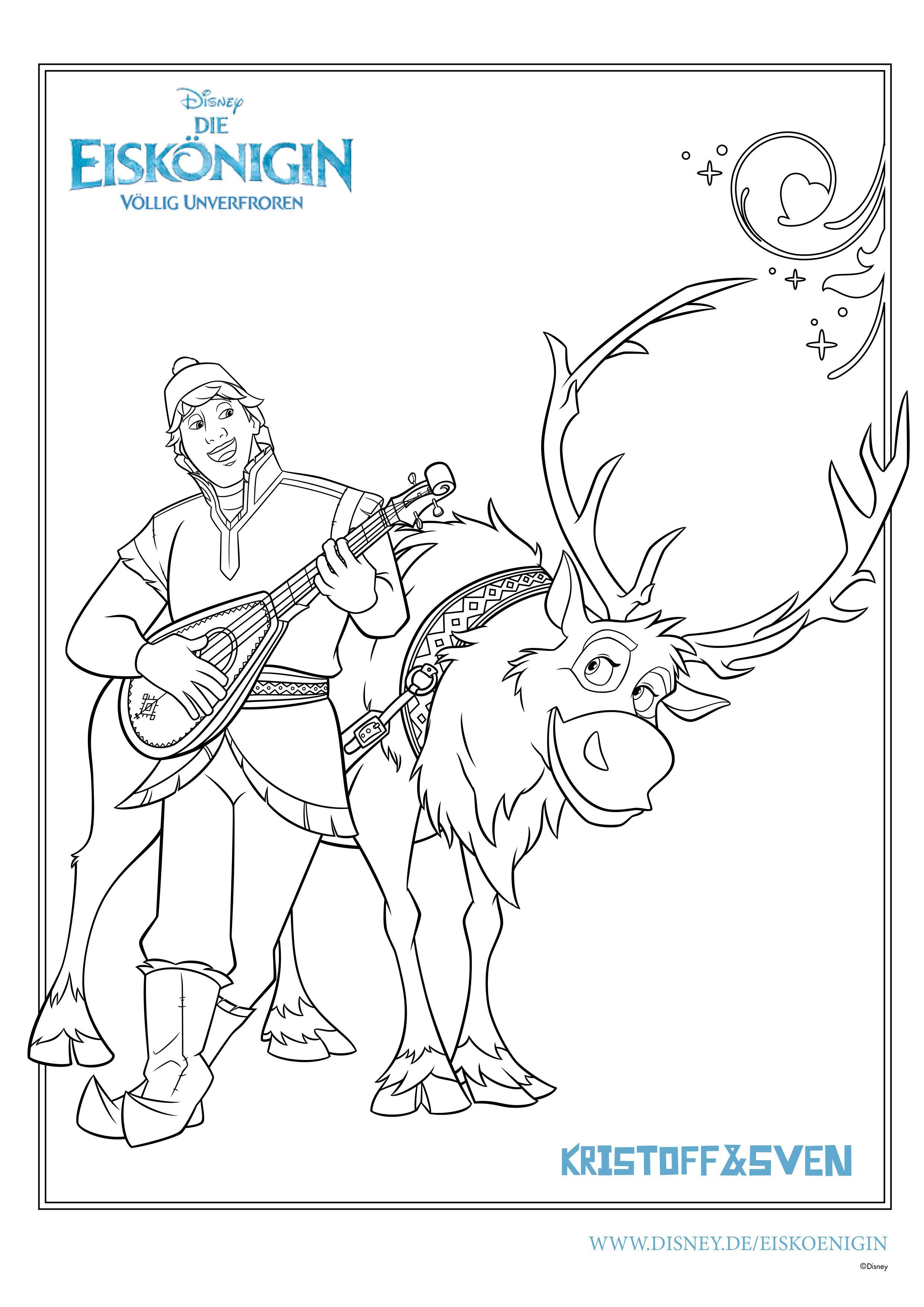 Ausmalbilder Eiskönigin: Kristoff und Sven machen Musik